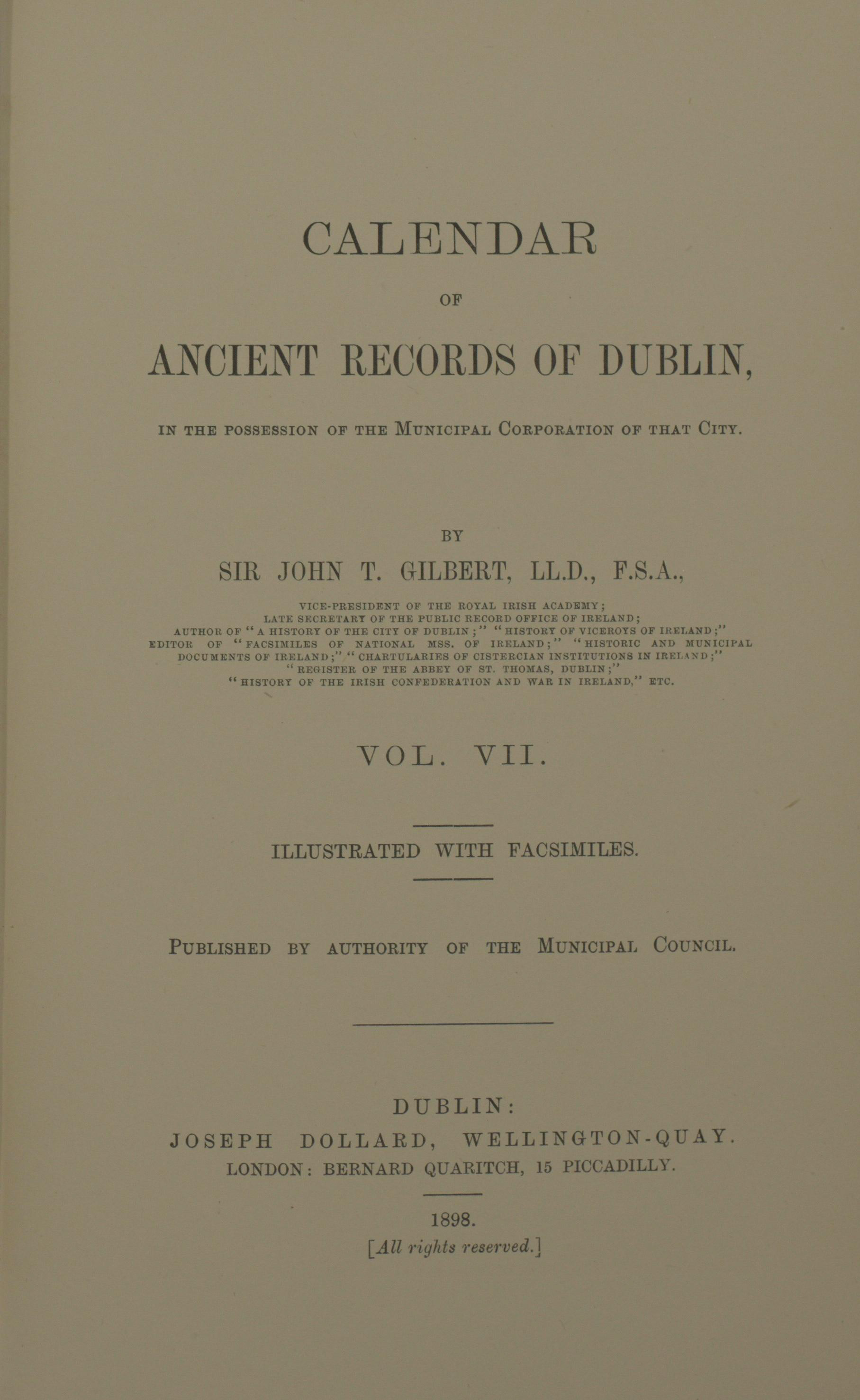 photo of Calendar of Ancient Records of Dublin Vol VII. 1898