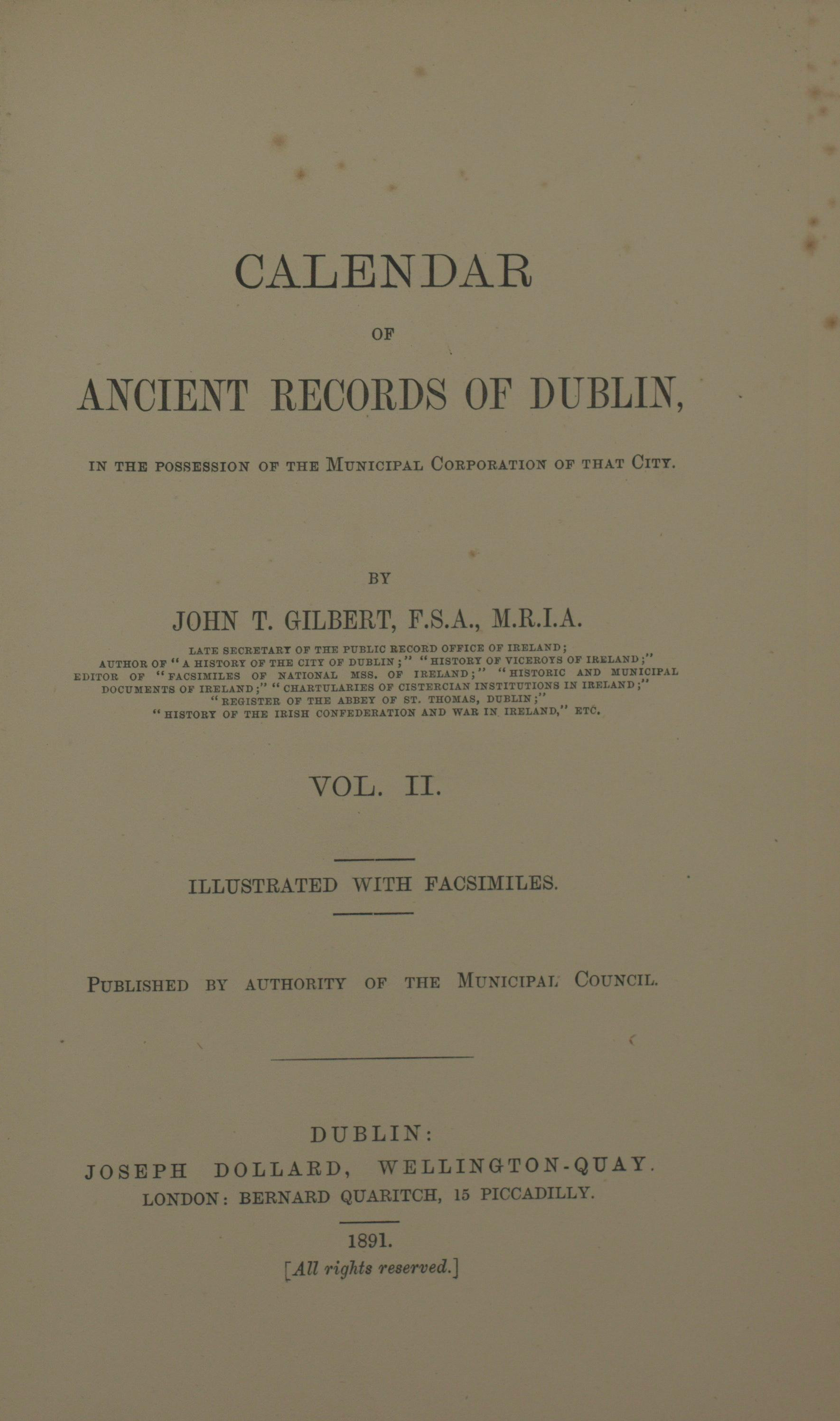 photo of Calendar of Ancient Records of Dublin Vol II, 1891