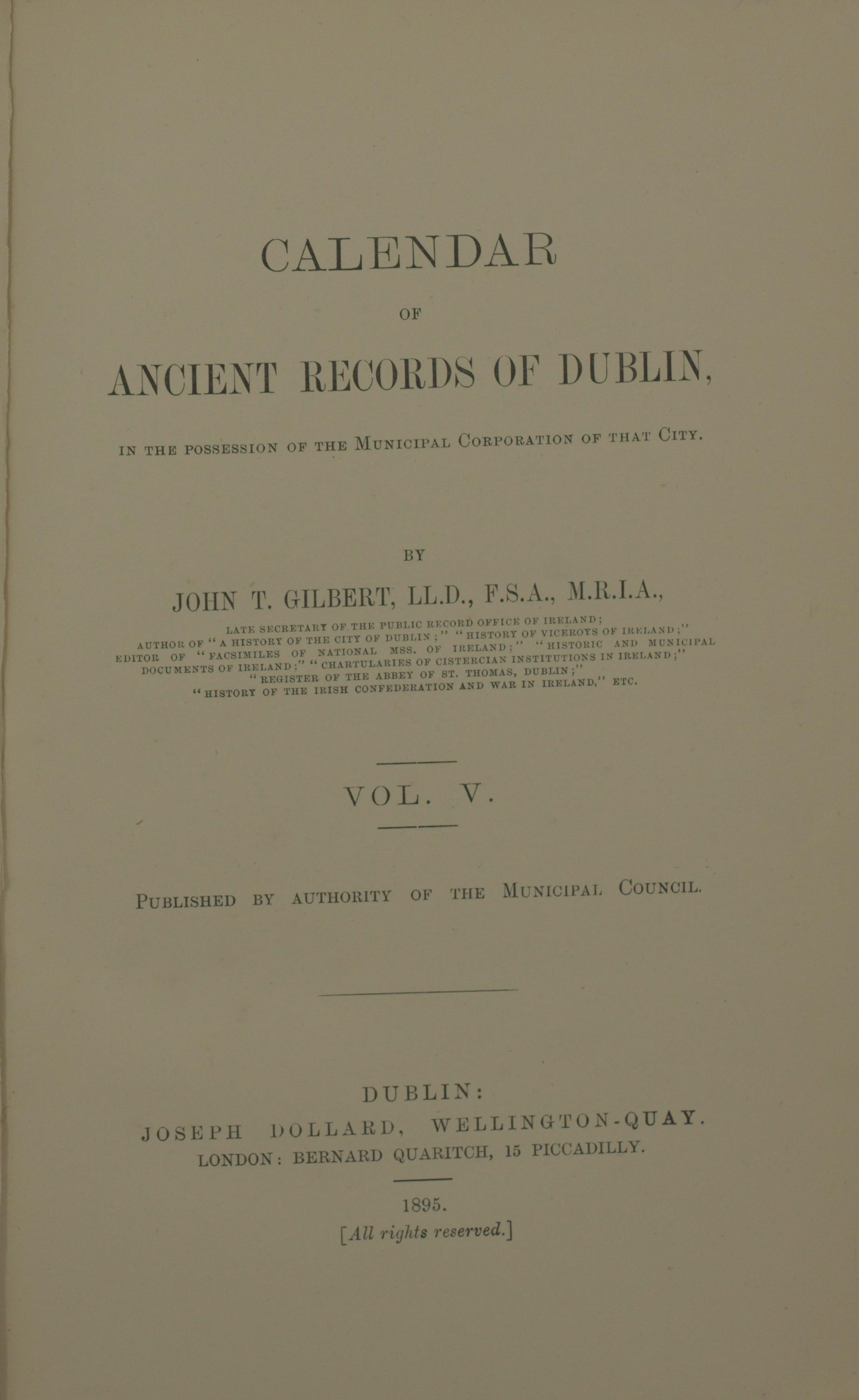 photo of The Calendar of Ancient Records of Dublin Vol V. 1895