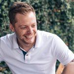 Andrew smiling in garden