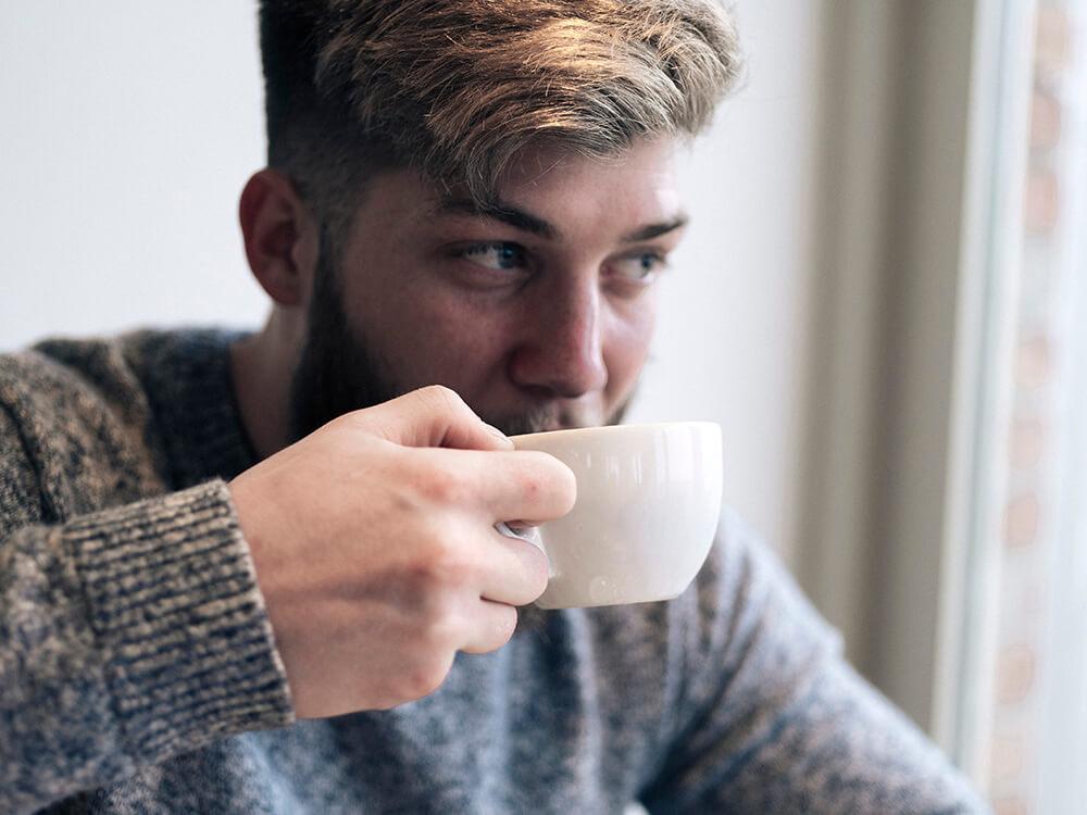 Ben drinking coffee