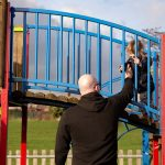 Martin at a play area with daughter