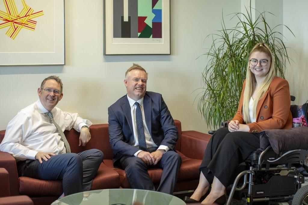 Future Legal Mind winner Charley-Anne Gordon with Paul Maynard MP & Jonathan White