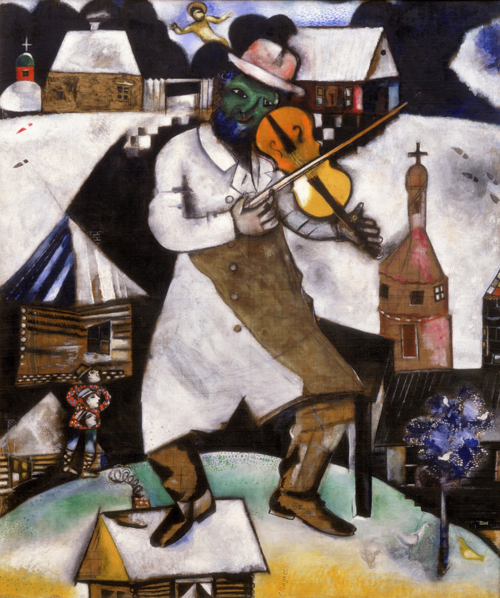 Marc Chagall, Le violoniste (The Fiddler), 1912-1913. © Marc Chagall, c/o Pictoright Amsterdam/Chagall ®, Chagall is a registered trademark, owned by Comité Marc Chagall. Collection Stedelijk Museum Amsterdam, on loan from the Cultural Heritage Agency of