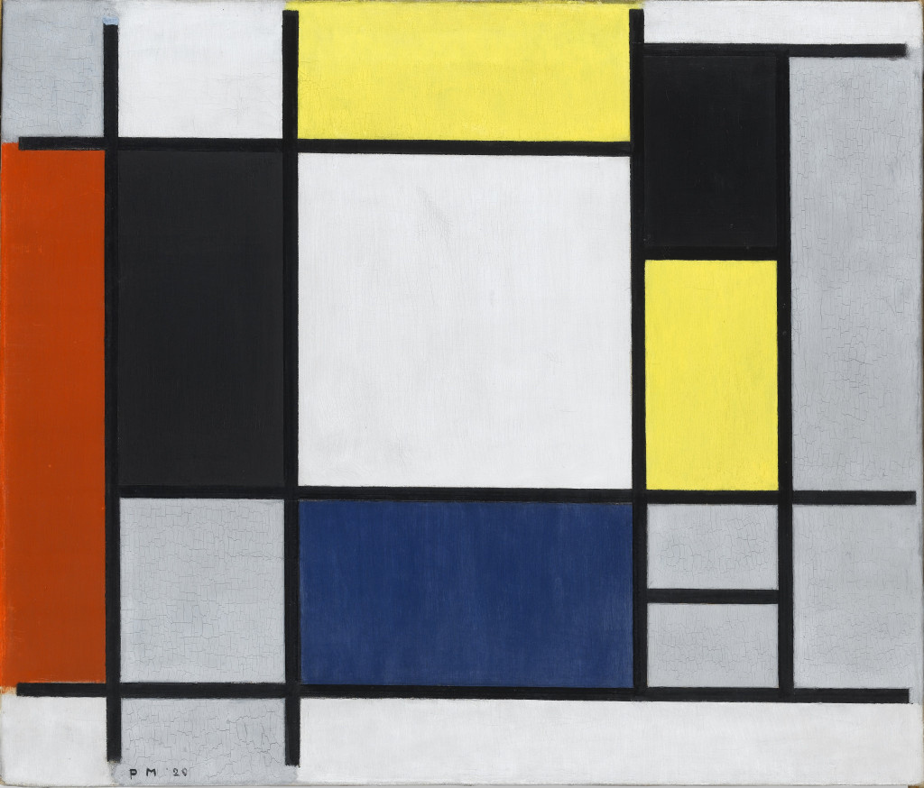 Piet Mondriaan, Compositie met geel, rood, zwart, blauw en grijs (Composition with Yellow, Red, Black, Blue, and Grey), 1920. Collection Stedelijk Museum Amsterdam