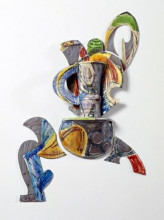 Betty Woodman, Balustradevaas / Balustrade Vase #95-5, 1992, geglazuurde, geassembleerde keramiek, 147 x 104 x 23 cm, Stedelijk Museum, Amsterdam.