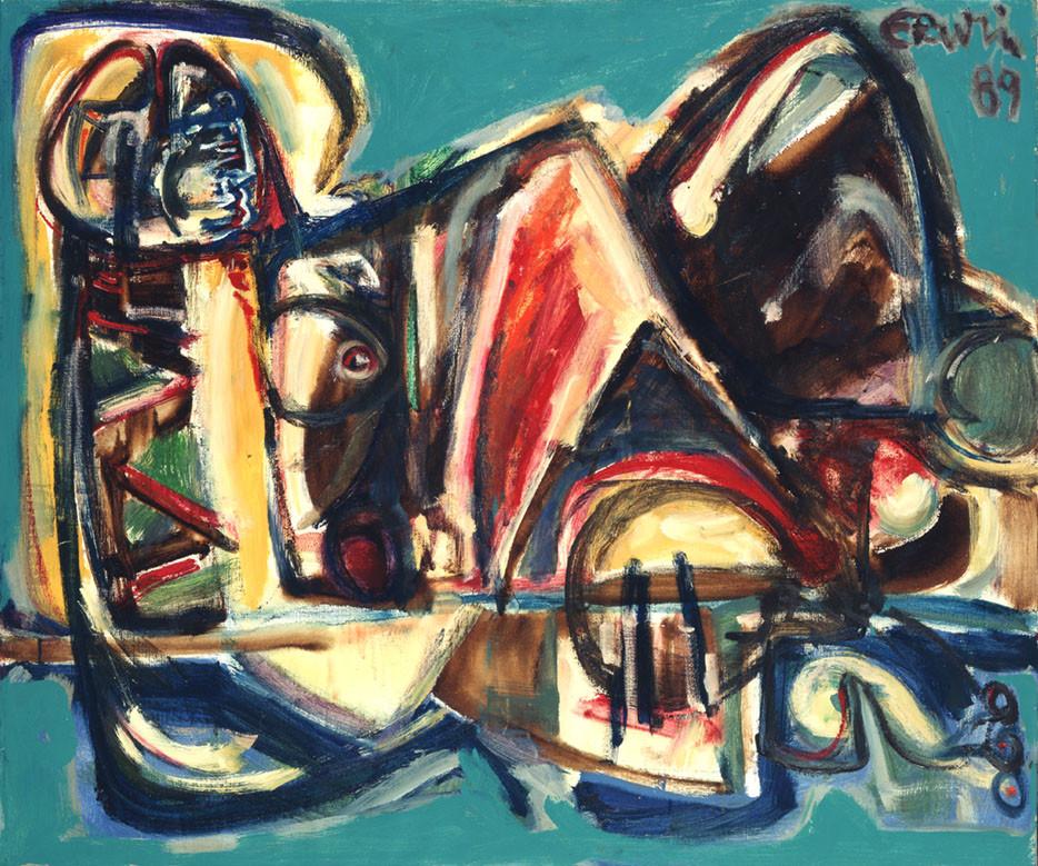 Erwin de Vries, Mexicaanse en profil, 1989, acrylverf op doek, 100 x 120 cm, Stedelijk Museum, Amsterdam, verworven met steun van het Mondriaan Fonds, 1996