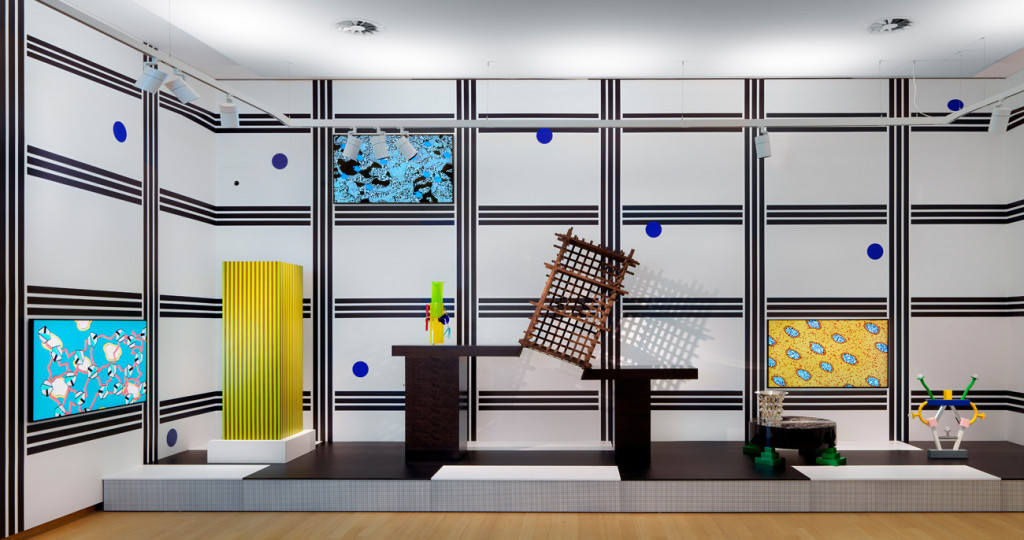 Gallery 'Sottsass and Postmodernism', with work by Ettore Sottsass, collection Stedelijk Museum Amsterdam; wallpaper Bas van Beek, animations Bas van Beek and V2_Lab for the Unstable Media based on Memphis designs by Nathalie du Pasquier