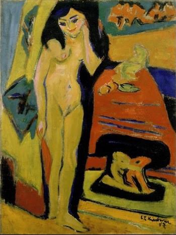 Ernst Ludwig Kirchner, 'Nacktes Mädchen hinter Vorhang (Fränzi)', 1910-1926, Collection Stedelijk Museum Amsterdam