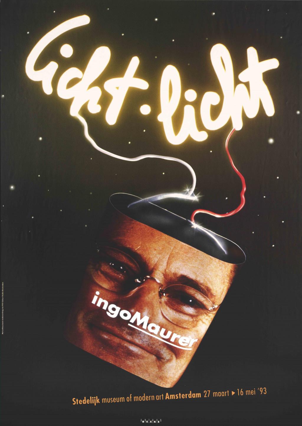 Anthon Beeke, affiche voor de tentoonstelling Ingo Maurer. Licht Licht, Stedelijk Museum Amsterdam, 1993