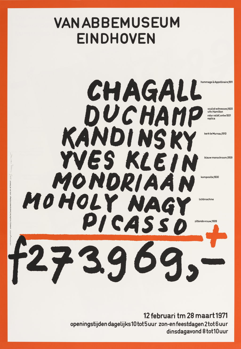 Poster Jan van Toorn 'chagall/duchamp er was eens… de collectie nu' (1971) Reprint 2015, litho on paper. Collection Van Abbemuseum. Photo: Peter Cox, Eindhoven