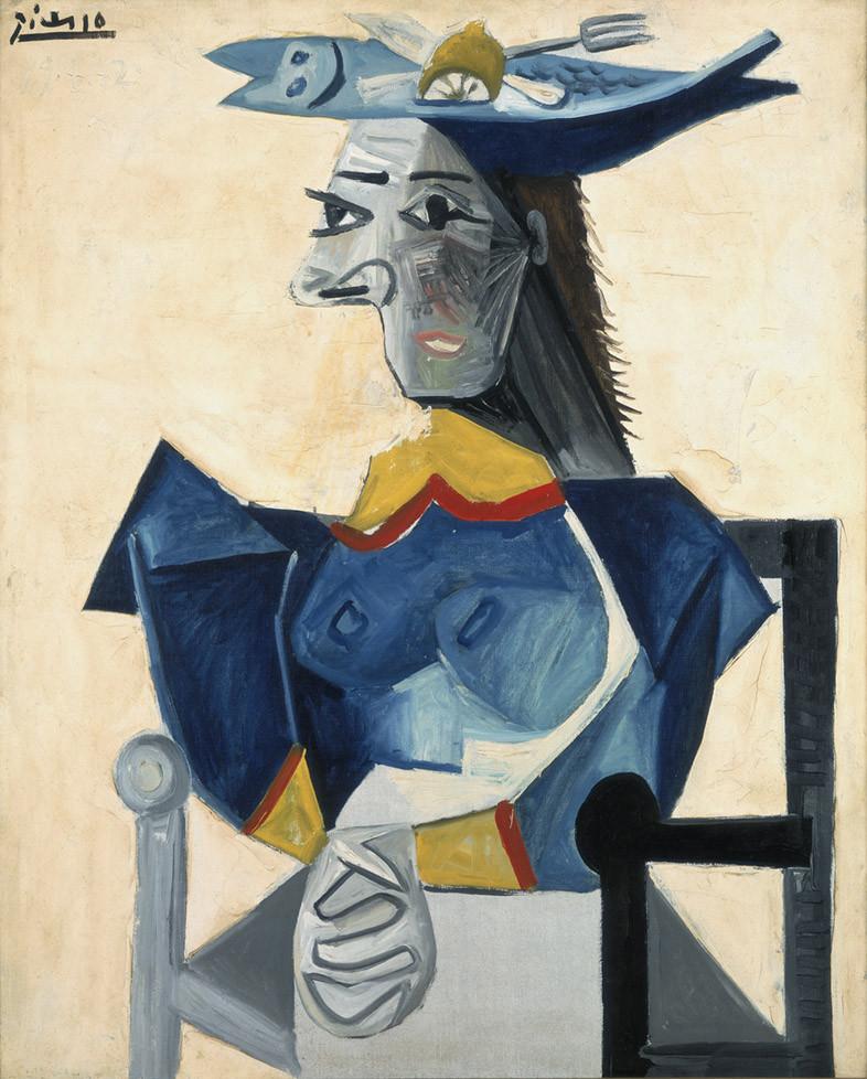 Pablo Picasso, Zittende vrouw met vishoed, 1942, collectie Stedelijk Museum Amsterdam