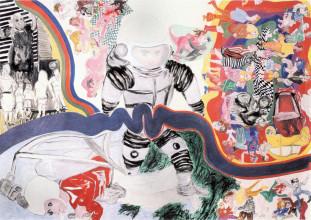 Jacqueline de Jong, 'Tournevicieux cosmonautique (les âmes les plus confuses se retrouvent un matin conditionés par un peu de pésanteur) (private life of cosmonauts)', 1966. Particuliere collectie. Courtesy de kunstenaar.