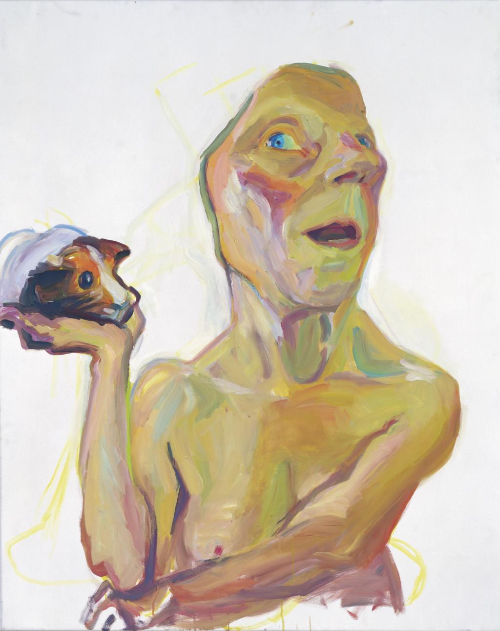 Maria Lassnig, 'Selbst mit Meerschweinchen', 2000. Particuliere Collectie. Courtesy Hauser & Wirth Collection Services © Maria Lassnig Foundation