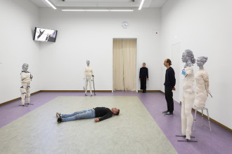 Sander Breure & Witte van Hulzen, Accidents Waiting to Happen, installation, sculpture, video, performance, 2019. Prix de Rome 2019. Photo: Daniel Nicolas Courtesy tegenboschvanvreden, Amsterdam, with thanks to the Leiden University Medical Centre