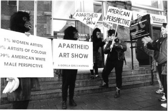 Supporters of the Guerrilla Girls on the steps of the Stedelijk Museum, 1996. Photo: Martijn van Nieuwenhuyzen