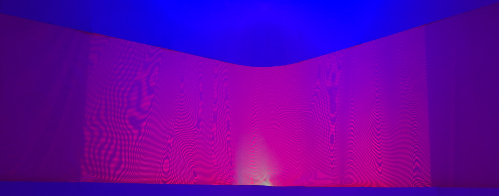 Philip Vermeulen, 'More Moiré²' , polyester, led light, mesh curtain, linear stages, 2020.