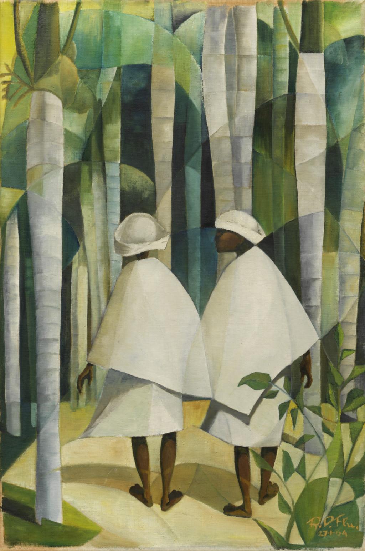 Ron Flu, Bidvrouwtjes in de Palmentuin, 1964, olieverf op doek.