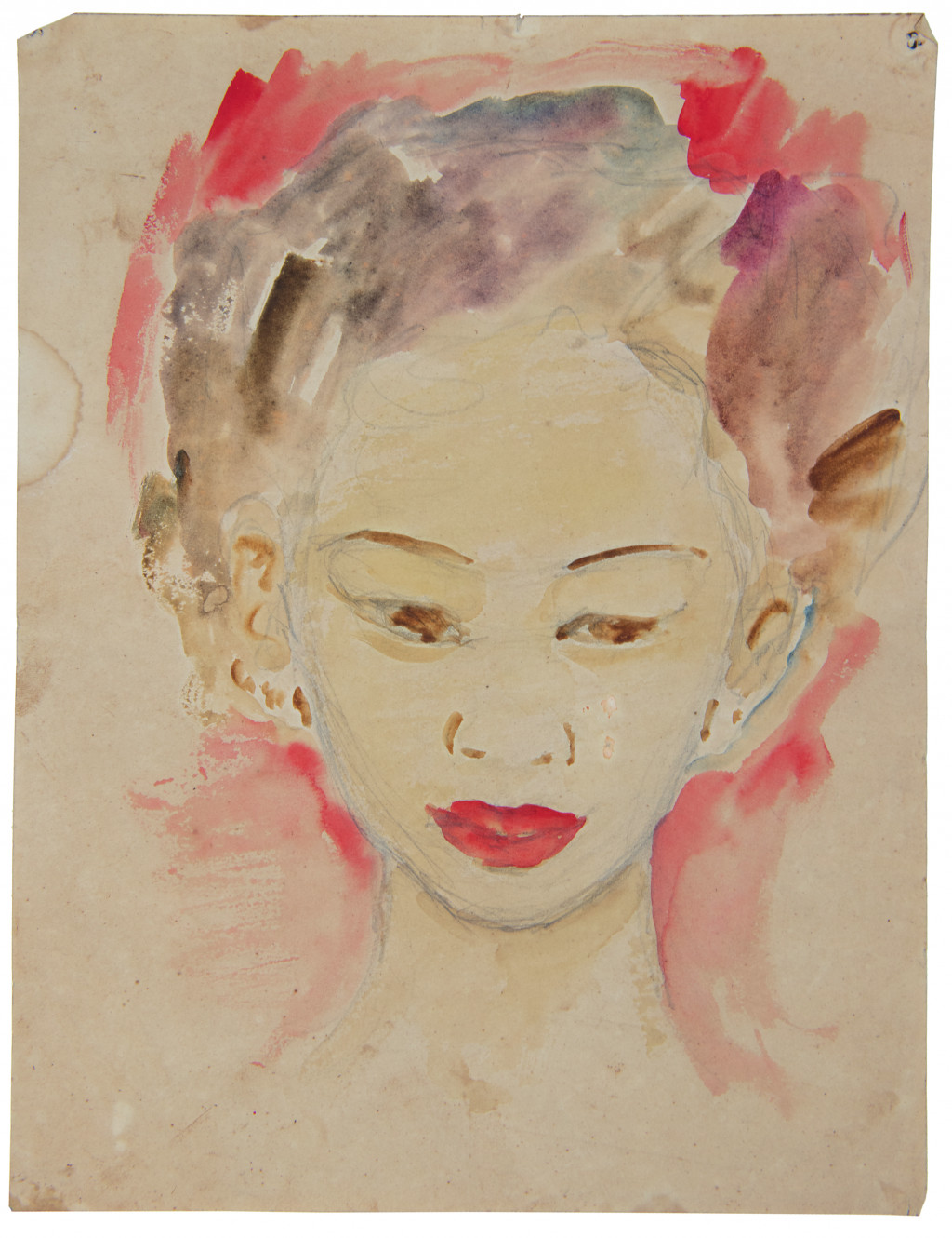 Untitled or year, watercolor, attributed to Nola Hatterman.