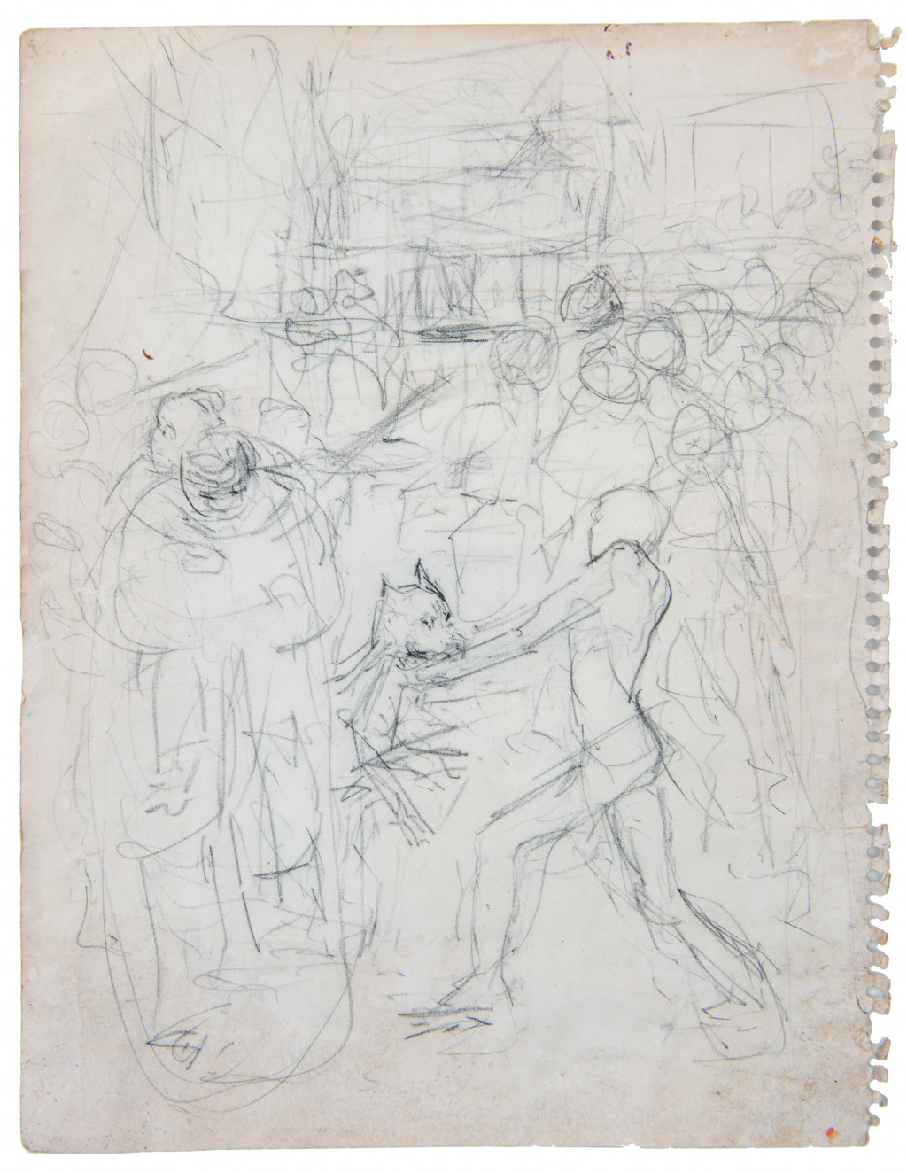 Armand Baag, sketch/preliminary study of Flight from the Plantation or Attack on the Plantation, 1981 or later