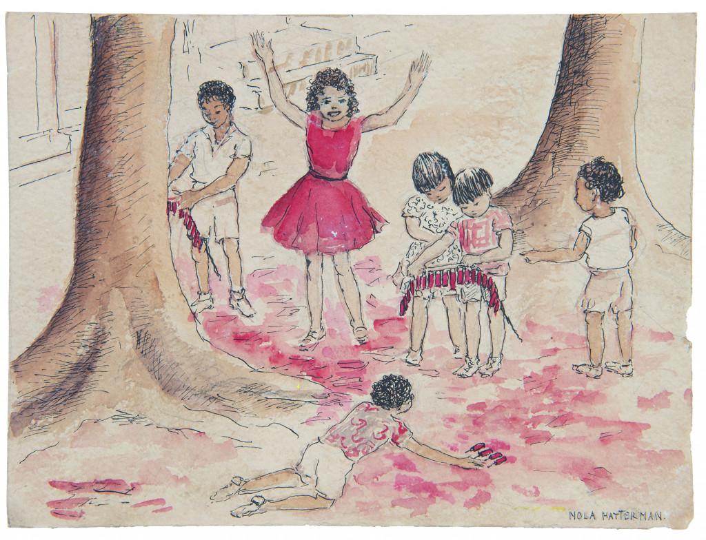Nola Hatterman, Spelende kinderen, drawing/watercolor