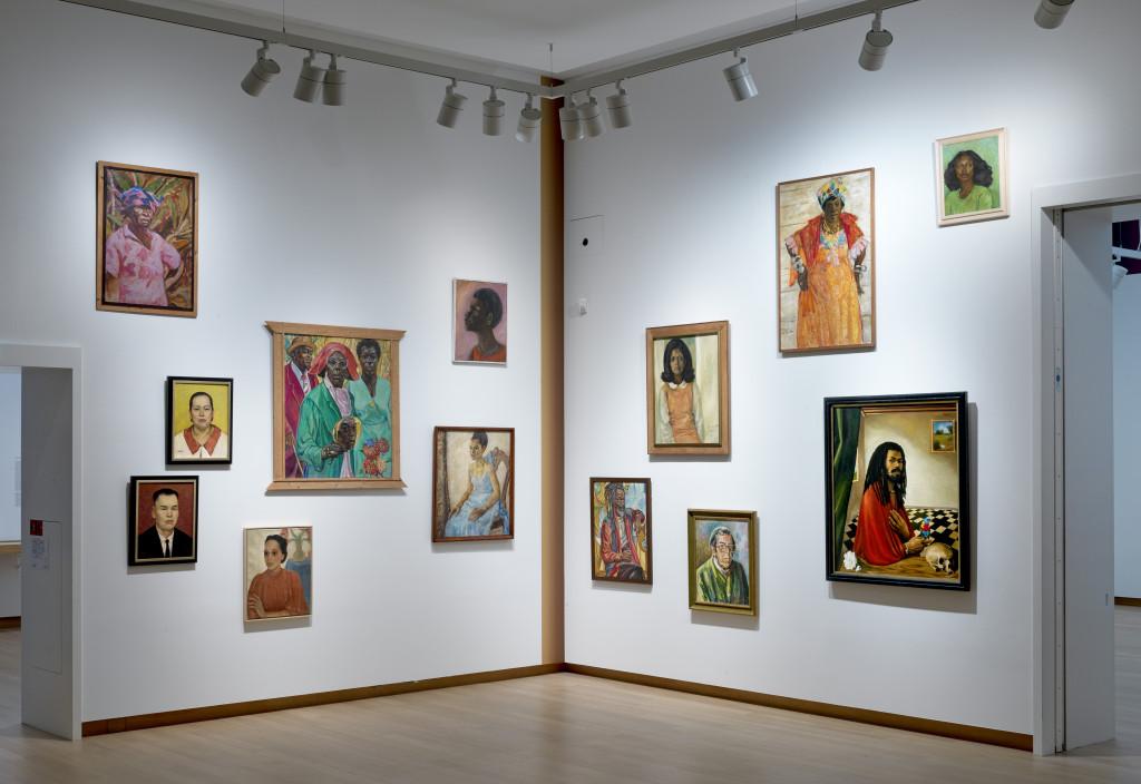 Installation view Surinamese School: Painting from Paramaribo to Amsterdam, 12 December 2020 until 31 May 2021, Stedelijk Museum Amsterdam. Photo: Gert Jan van Rooij