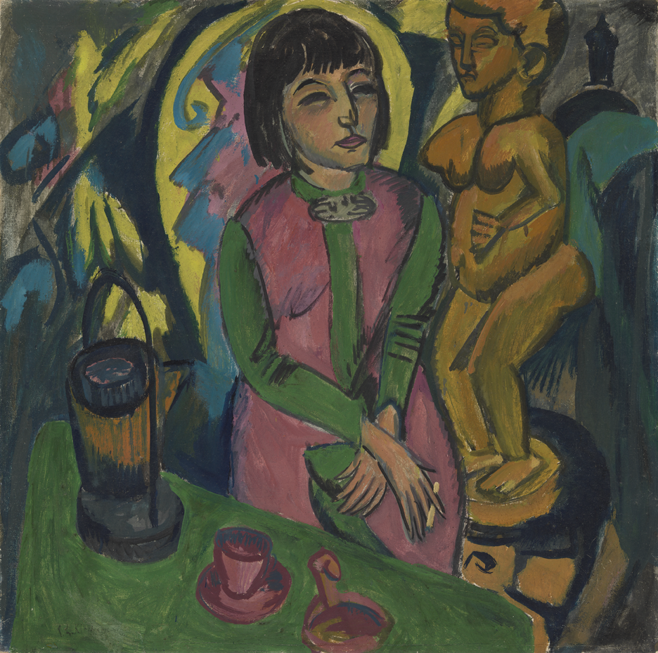 Ernst Ludwig Kirchner, Sitzende Frau mit Holzplastik (Seated Woman with Wooden Sculpture), 1912, oil on canvas, 78 x 78 cm. Virginia Museum of Fine Arts, Richmond. Adolph D. and Wilkins C. Williams Fund, 84.80.