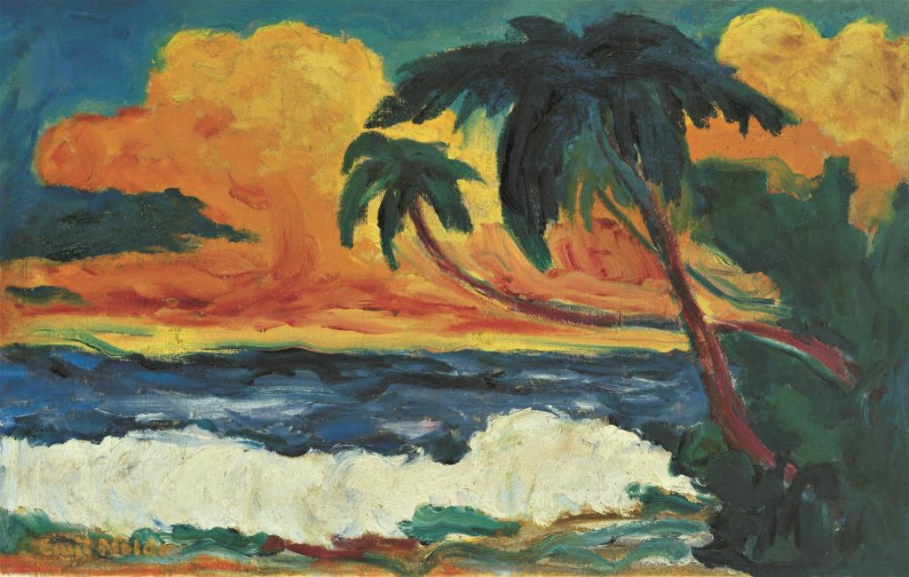Emil Nolde, Palmen am Meer, 1914, olieverf op doek, 70,5 × 110 cm. Nolde Stiftung Seebüll © Nolde Stiftung Seebüll.
