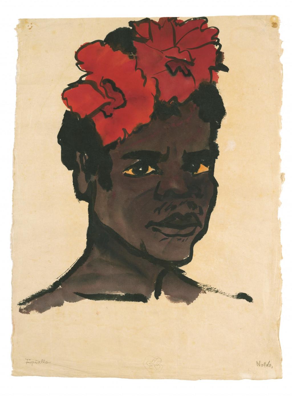 Emil Nolde, Jupuallo, 1913-1914, aquarel en Oost-Indische inkt op papier, 47,4 x 34,9 cm. Nolde Stiftung Seebüll © Nolde Stiftung Seebüll