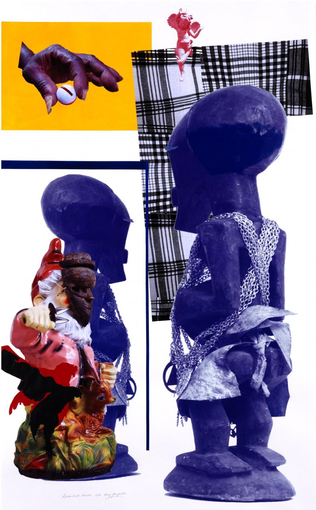 Remy Jungerman, ASCENDED MASTERS, collage, 199 x 121 cm, 2010. Courtesy van de kunstenaar en Galerie Ron Mandos. Fotografie Aatjan Renders