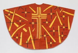Henri Matisse, ontwerp voor rood kazuifel (voorkant), ontworpen voor de Rozenkranskapel van de zusters dominicanessen van Vence, laat 1950-1952, gouache op papier, uitgeknipt en geplakt op papier, 128,2 x 199,4 cm, The Museum of Modern Art, New York, verw