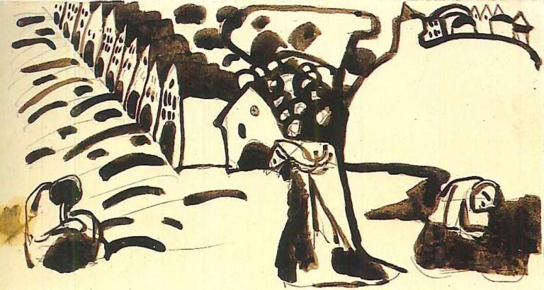 Wassily Kandinsky, Ontwerp voor Bild mit Häusern, 1909, bruine inkt en potlood op papier, 10,4 x 19,4 cm, Städtische Galerie im Lenbachhaus, München