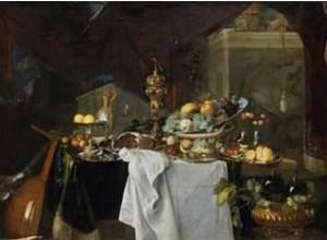 Jan Davidsz. de Heem, Vruchten en rijk vaatwerk op een tafel, 1640, olieverf op doek, 149 x 203 cm, Musée du Louvre, Parij