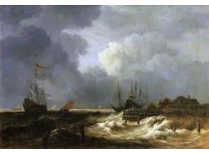 Jacob Isaacksz. van Ruisdael, Storm bij een dijk in Holland, begin jaren 1670, olieverf op doek, 110 x 160 cm, Musée du Louvre, Parijs