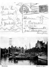 Ansichtkaart van het Damrak en de Beurs in Amsterdam, die Matisse in 1925 verstuurde.