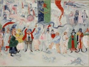 James Ensor, Carnaval en Flandre (Carnaval in Vlaanderen), ca. 1929-1930, olieverf op doek, 54.5 x 73 cm