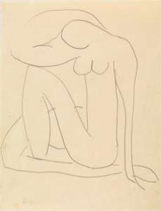 Henri Matisse, Zonder titel (studie voor Blauwe naakten), ca. 1952, potlood op papier, 27 x 21 cm, particuliere collectie, © Succession H. Matisse, c/o Pictoright Amsterdam.