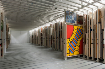 Moveable racks in the painting storage area