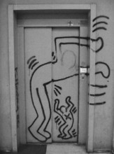 24637b7b Keith Haring Foundation Keith Haring lift door of the art school in Utrecht  (now HKU Utrecht University of the Arts), before restoration.