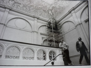 b15e8cd4 Installation of the velum. Stedelijk Museum Amsterdam Archive. © Keith  Haring Foundation