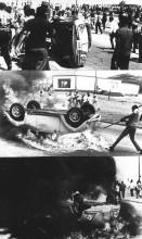 Volkswagen Kever wordt op zijn kop getild en in brand gestoken tijdens de revolte in Willemstad, 01-06-1969. Fotograaf onbekend. Nationaal Archief/Collectie Spaarnestad/ANP.