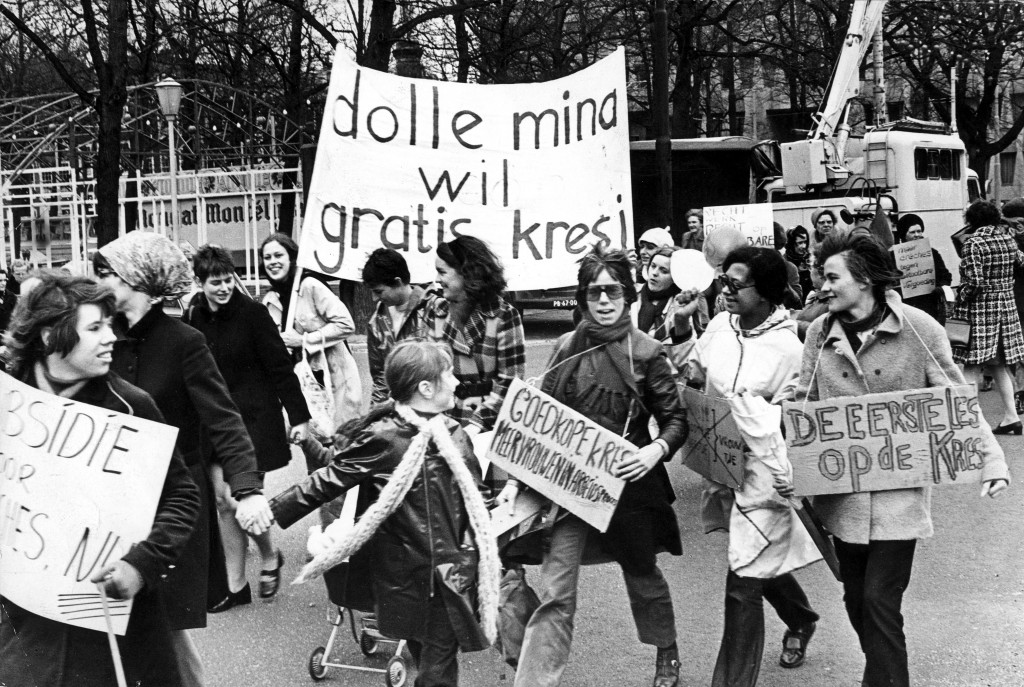 "Dolle Minas (""Crazy Minas"") want a free ""kresj,"" a play on words meaning ""crèche"" (day nursery), 1970. Ine van der Schaaf/Spaarnestad"