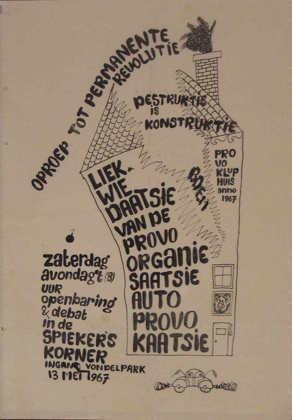 Rob Stolk, Liquidation of the Provo organization, 1967. Collection Stedelijk Museum Amsterdam