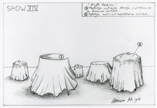 Marinus Boezem, show 14, Soft tables, ontwerp, 1968, courtesy de kunstenaar.