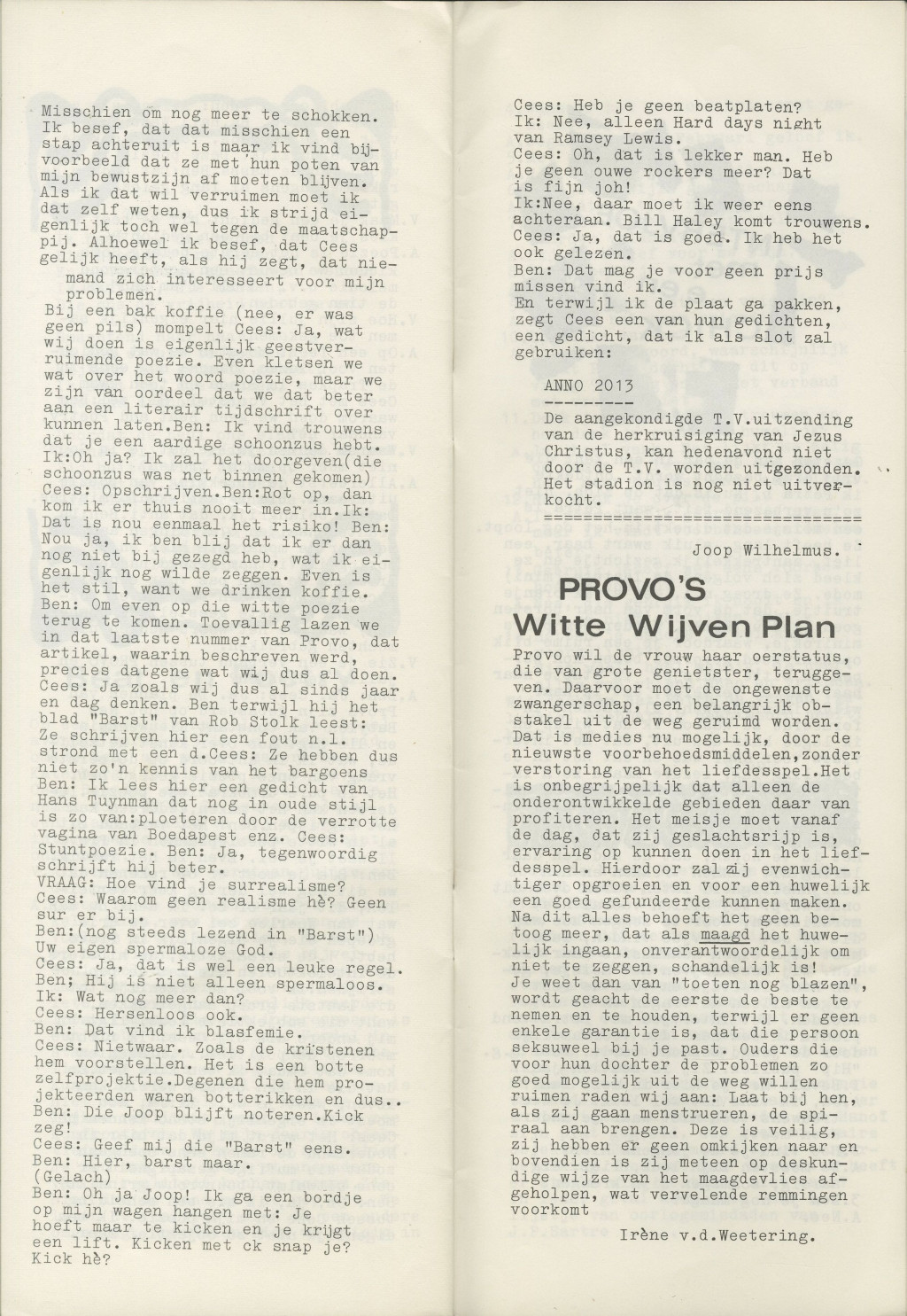 'Witte Wijven Plan' in Gnot, 1967. Provo, International Institute of Social History, Amsterdam
