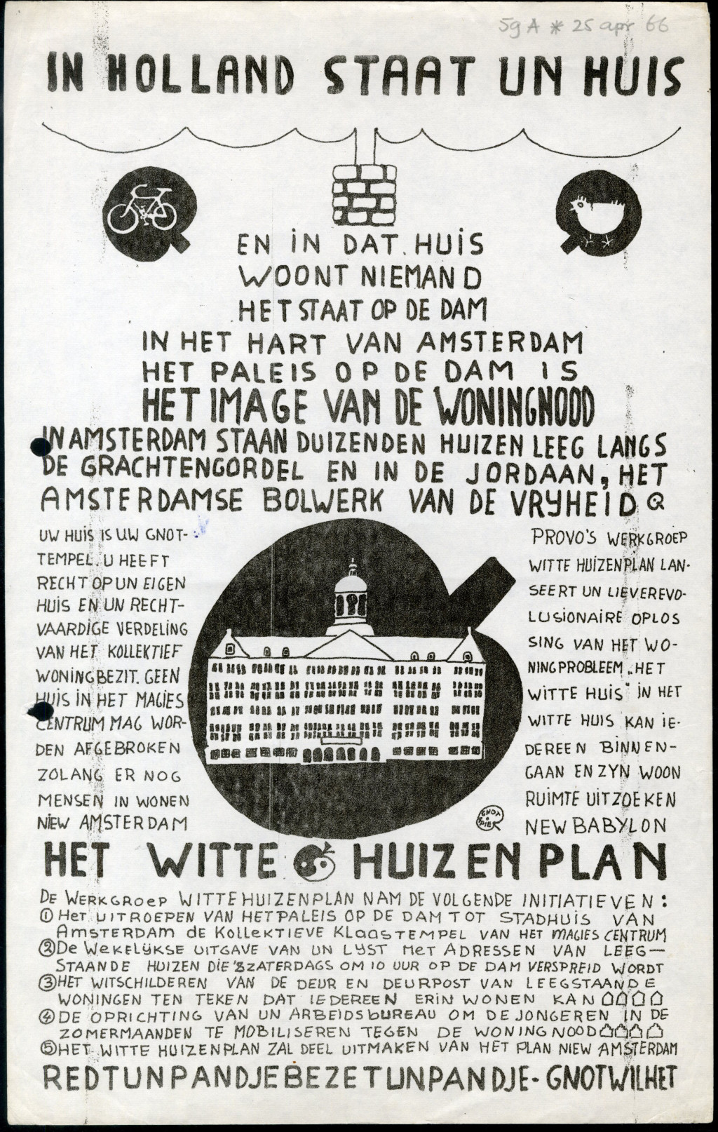 Witte Huizenplan (White Dwellings Plan), pamphlet, 1966, Provo, Collection International Institute of Social History (IISG)