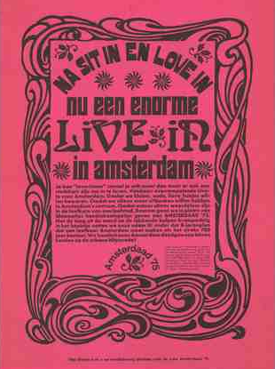 "Na 'Sit In' en 'Love In' nu een enorme 'Live In' in Amsterdam (After ""Sit In"" and ""Love In"" now a huge ""Live In"" in Amsterdam), Amsterdaad '75, 1967-75, Collection International Institute of Social History (IISG)"