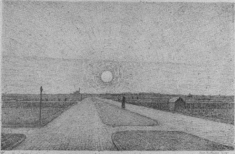 Chris Beekman, 'Landschap met wegen en zon', 1914 (litho). Kröller-Müller Museum, Otterlo. Uit: Ger Harmsen, Chris Beekman, Een kunstenaarsleven, 1887-1964, Nijmegen (1999).