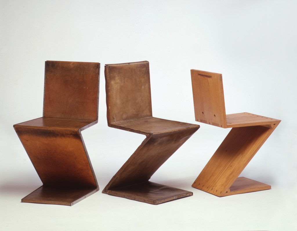 Fig. 8 Gerrit Rietveld, From left to right: Zig-Zag Chair (prototype, 1st version), 1932; Zig-Zag Chair (prototype, 2nd version), 1932-1933;  Zig-Zag Chair, 1932-1933, manufactured from 1932-1933 onward, under the control of Metz & Co., Amsterdam