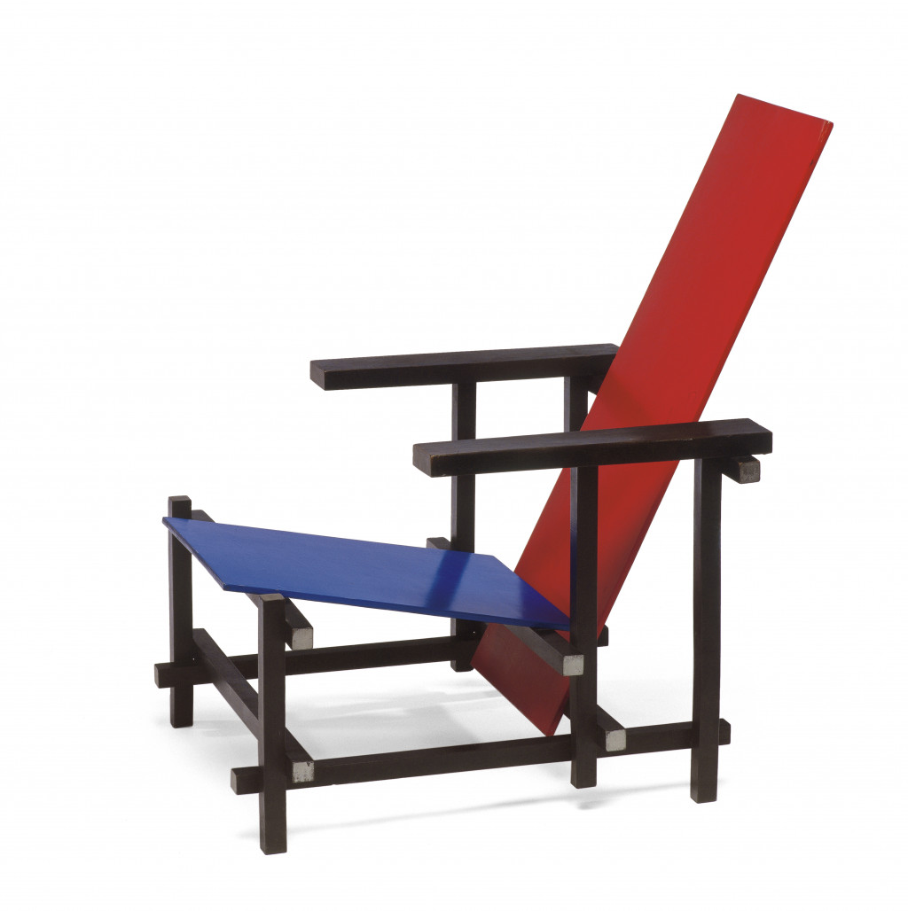 Fig. 2 Gerrit Rietveld, Lounge Chair, Rood-blauwe stoel / Red Blue Chair, 1918-1923/c. 1223, stained solid beech frame with wood dowel joints, painted birch plywood (multi-ply) seat and backrest 86.5 x 66 x 83 cm
